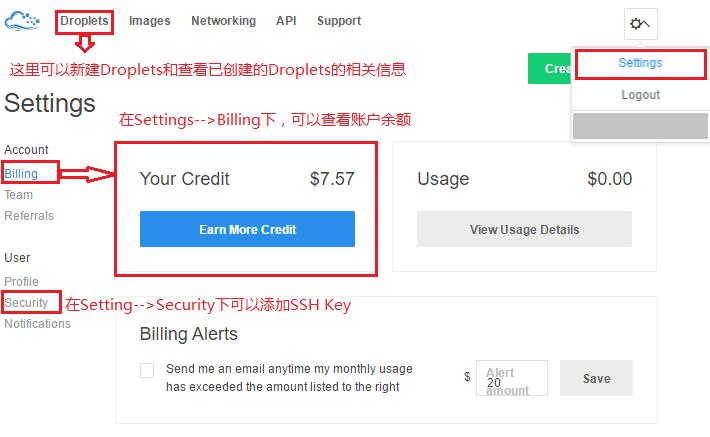 get my credit in DigitalOcean