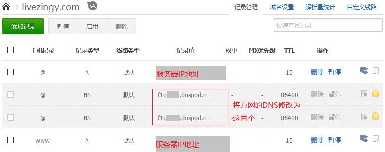 DNS server on DNSPOD