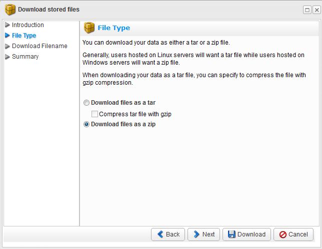 选择下载文件的压缩类型